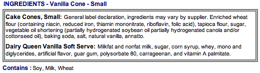 DQ ingredients