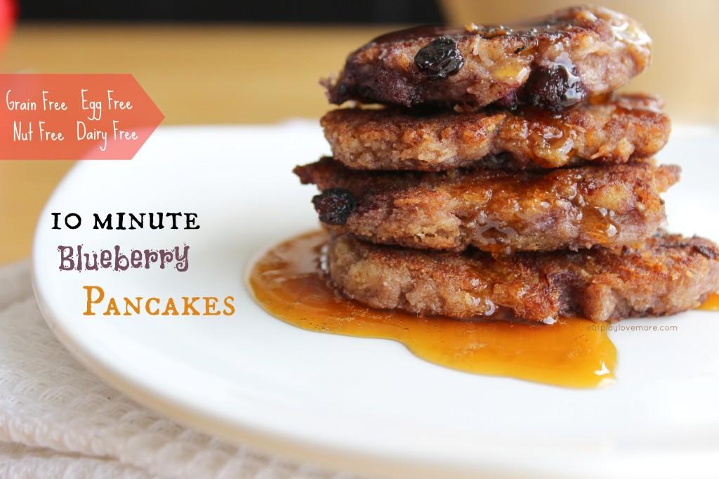 Delicious 10 minute pancakes #grainfree, #eggfree, #dairyfree, #nutfree, #AIP