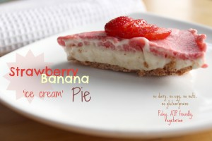 Easy Banana Strawberry 'Ice Cream' Pie