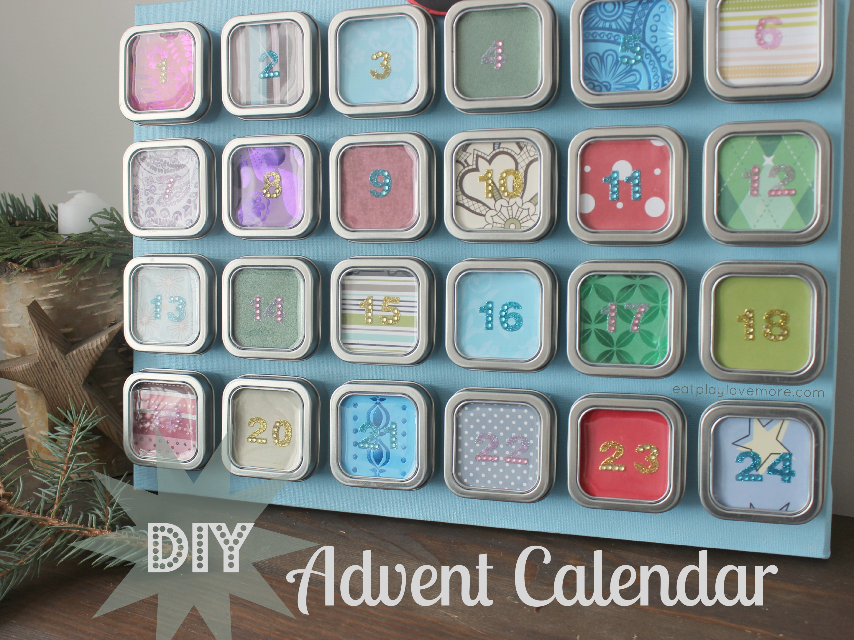 Calendar Advent Diy : Eat play love more live laugh