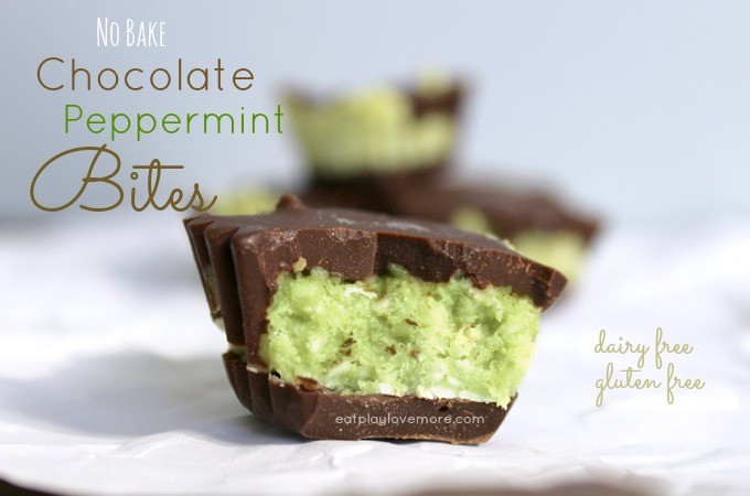No Bake Chocolate Peppermint Bites #dairyfree and #glutenfree