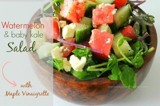 Watermelon Salad with Baby Kale and Maple Vinaigrette